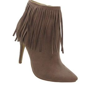 Adriana Shana Taupe Fringed Stiletto Ankle Booties